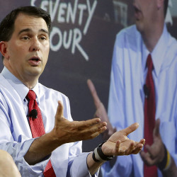 Republican presidential candidate Scott Walker speaks during an education summit, Wednesday in Londonderry, N.H. The Associated Press