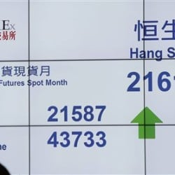 A bank's electronic board displays activity at the Hong Kong Stock Exchange  on Thursday. China's main stock market index posted its biggest gain in eight weeks, as Asian markets rose following Wall Street's overnight rebound. The Associated Press