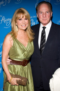 "In this March 25, 2010 file photo, Kathie Lee Gifford and Frank Gifford arrive at the opening night performance of the Broadway musical ""Come Fly Away"" in New York."