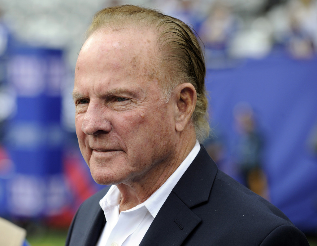 In this Sept. 15, 2013 file photo, former New York Giants player Frank Gifford looks on before an NFL football game between the New York Giants and the Denver Broncos in East Rutherford, N.J. Gifford's family on Sunday, Aug. 9, 2015 said Gifford died suddenly of natural causes. The Associated Press