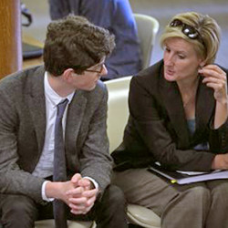 Owen Labrie talks with one of his attorneys Jaye Rancourt, right, as his parents Denise Holland and Cannon Labrie talk in the lobby as they wait outside the courtroom for the verdict in his trial at Merrimack County Superior Court on Friday, Aug. 28, 2015 in Concord, N.H.   Labrie is charged with raping a 15-year-old freshman as part of Senior Salute, in which seniors try to romance and have intercourse with underclassmen before leaving the prestigious St. Paul's School in Concord.  (Geoff Forester/The Concord Monitor via AP) MANDATORY CREDIT