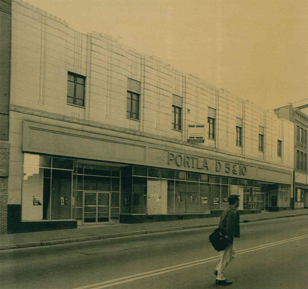 Flashback: a 1995 photograph of the large vacant storefront formerly occupied by the F.W. Woolworth 5 & 10 store on Congress Street in downtown Portland, shortly before the building was renovated for an L.L. Bean outlet store.
