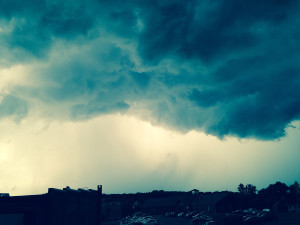 Scott Paradis submitted this photo of storm clouds rolling onto Presumpscot Street in Portland on Tuesday.
