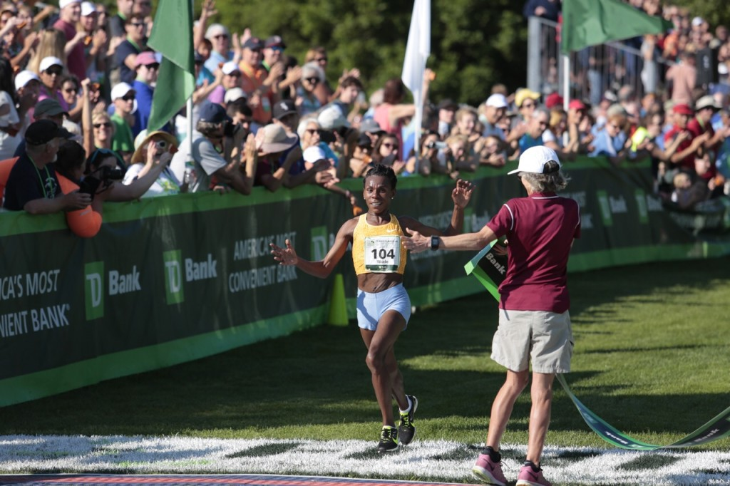 Ethiopia's Wude Ayalew is the first woman finisher in Saturday's Beach to Beacon 10K race in Cape Elizabeth. Gabe Souza/Staff Photographer