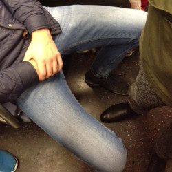 New York City subway example of manspreading