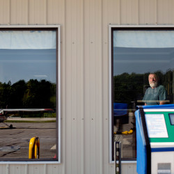 Richard Pate of Biddeford, shown at the Biddeford Airport on Monday, hired a plane to fly banners over NFL commissioner Roger Goodell's Scarborough home.