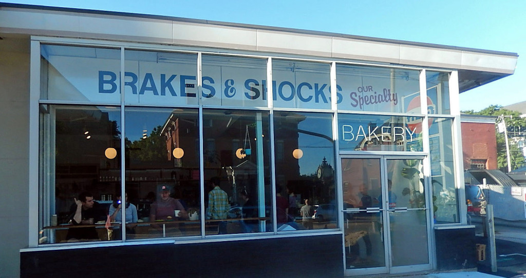 Tandem Bakery at 742 Congress St., ,with the old Brakes and Shocks sign still displayed. Press Herald file photo