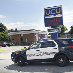 Portland police are on the scene at University Credit Union on Forest Avenue where a couple entered the credit union and demanded money Friday. Shawn Patrick Ouellette/Staff Photographer