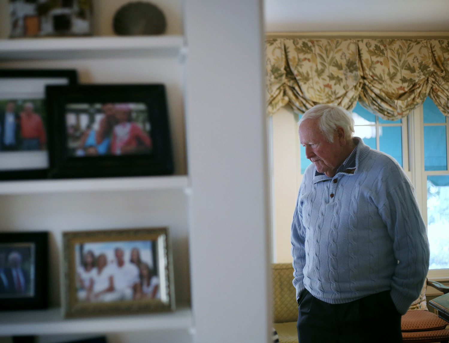 FALMOUTH, ME - SEPTEMBER 22: John Marr of Falmouth whose wife Josephine has been battling Alzheimer's for the last seven years recently donated $2 million to Brigham & Women's Hospital in Boston to fund research. John talks to his wife as she rests at their home in Falmouth. (Photo by Derek Davis/Staff Photographer)