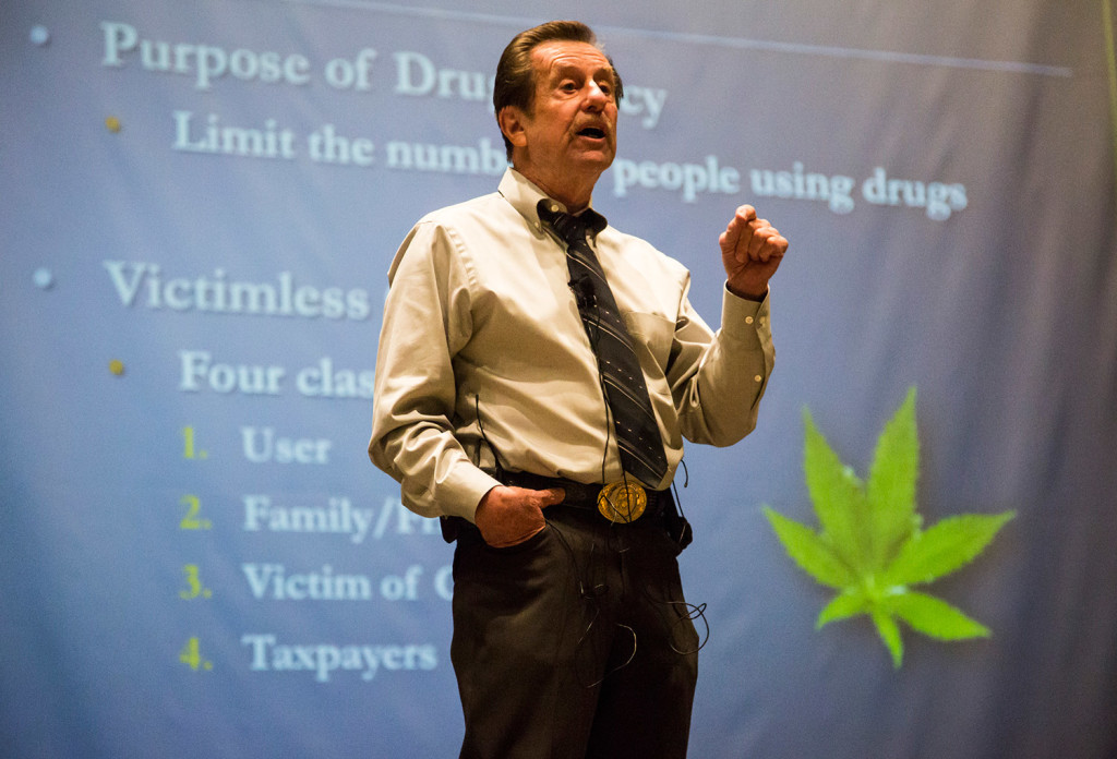 Thomas Gorman speaks Tuesday night about issues raised by legalizing recreational use of marijuana. He said one is a jump in the number of people who report trying pot. Whitney Hayward/Staff Photographer