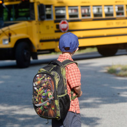 SOUTH PORTLAND, ME - SEPTEMBER 9: Nicholas Zaccaria watches the bus pull up in front of his home on the first day of kindergarten Wednesday September 9, 2015. (Photo by Shawn Patrick Ouellette/Staff Photographer)