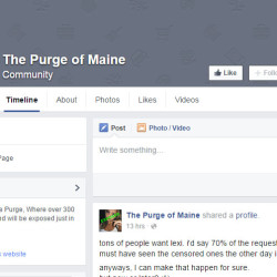 A screen grab of The Purge  of Maine, which was taken down late last night.