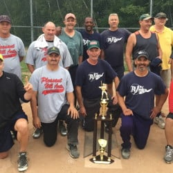 RJ's Pub recently won the Greater Portland Senior Men's Softball League championship. Team members, from left to right: Front row – Jim Nugent, Frank McGlallglin, Dan Sullivan, Jesse Shannon, Randy Aspiras and Don Brown; Back row – Jim Jackson, Steve Fitzgerald, John Malone, Paul Sams, Walter Swiger, Wayne Shaw, John Gildard and Buddy Lakin; Not in photo – Bob Collins.
