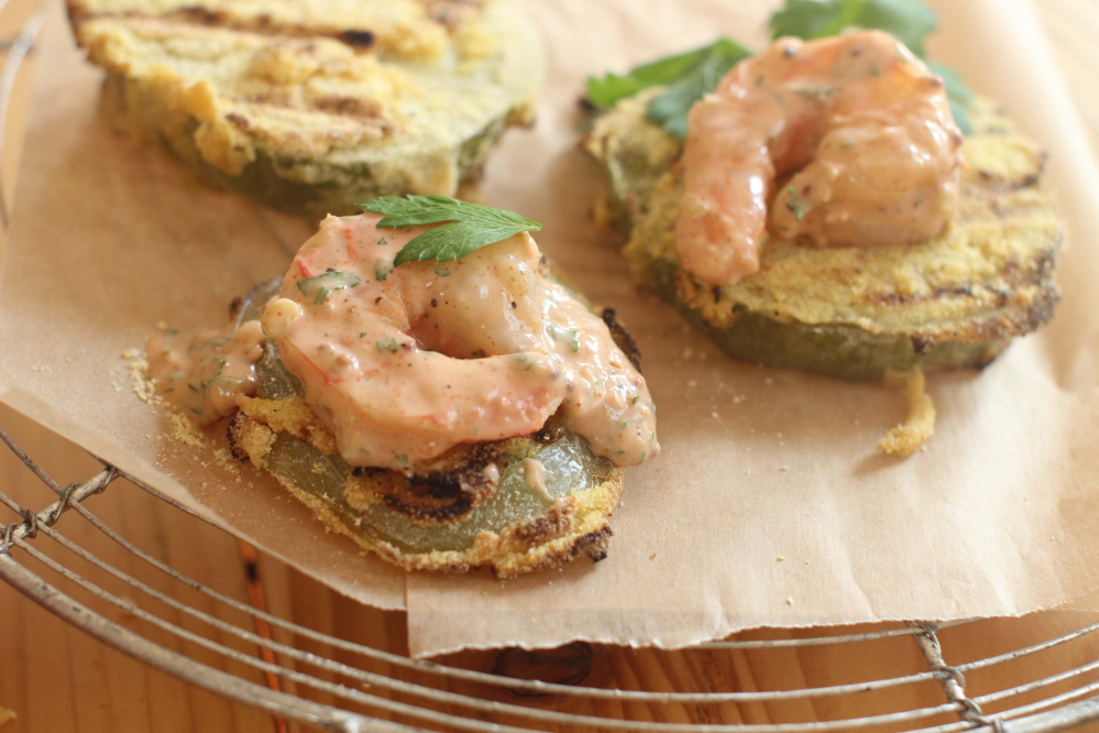 Grilled green tomatoes with shrimp remoulade.