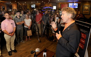U.S. Sen. Rand Paul, R-Ky., speaks to members of the media and his supporters at Linda Bean's Perfect Maine Kitchen and Topside Tavern in Freeport on Tuesday.