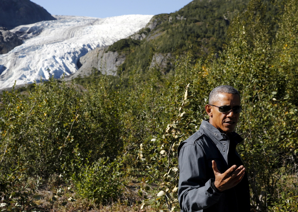 With Exit Glacier as a scenic but deteriorating backdrop, President Obama calls for quick and decisive action on climate change during his Alaskan trip Tuesday.