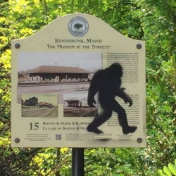 Police sought the public's help finding out who was tagging property in Kennebunk with an image of a sasquatch.