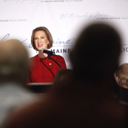 Carly Fiorina, the former Hewlett-Packard CEO who is now seeking the Republican presidential nomination, speaks at a luncheon hosted by the Maine Heritage Policy Center in South Portland on Thursday.