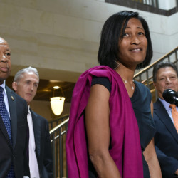 Former Clinton aide Cheryl Mills speaks to reporters on Capitol Hill in Washington on Thursday following her deposition before the panel investigating Benghazi.