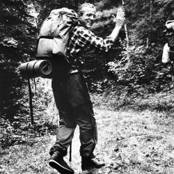"L.L. Bean president Leon Gorman, shown hiking in an unknown location in this June 12, 1985 file photo, will join climbers from three nations who are scaling Mount Everest to promote world peace and environmental protection in 1990. Gorman, 55, is participating in the climb as a ""trekker"" who will follow the nearly 50 expedition members to Camp 3, an advanced base camp at 21,325 feet. (AP Photo/Patricia Wallenbach)"