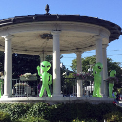 Inflatable toy aliens adorn a gazebo in Exeter, N.H., during the Exeter UFO Festival in 2014. Hundreds of people are expected at this weekend's event that runs through Sunday.