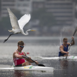 Canoeists compete in Rio de Janeiro on Friday in waters that have drawn concern from athletes prior to next year's Olympics. Waters around Rio often contain raw sewage, though that pollution doesn't appear have caused a  skin infection on a German sailor, scientists say.