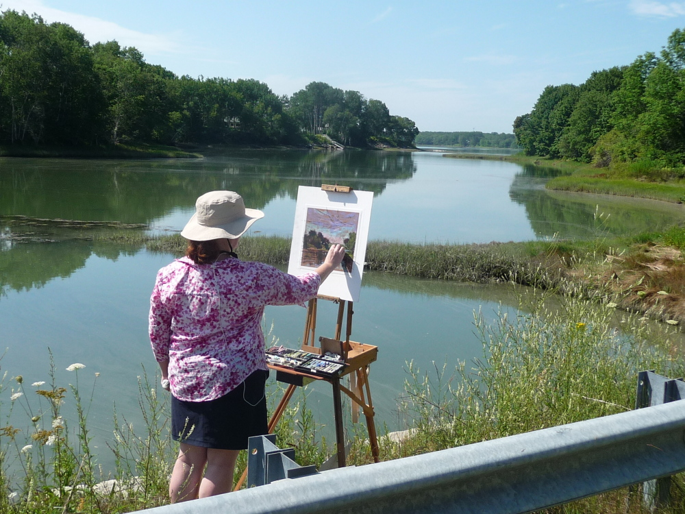 "Artist Kay Sullivan creates ""Summer Day"" during the recent Wet Paint on the Weskeag! benefit auction."