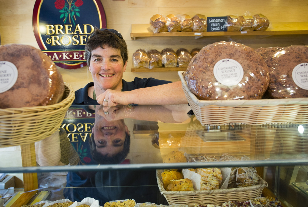 """Mary Breen, owner of Bread & Roses Bakery in Ogunquit for 26 years, says visitors have crowded the streets all summer. """"July 4th was the busiest day we've (ever) had,"""" she said."""
