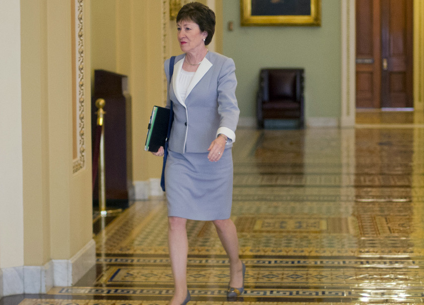 "Sen. Susan Collins, R-Maine, walks to the Senate floor Tuesday. She said that she'll oppose the Iran nuclear deal, calling it ""fundamentally flawed."" Collins was considered the one Senate Republican the Obama administration could potentially convince to support the agreement. The Associated Press"