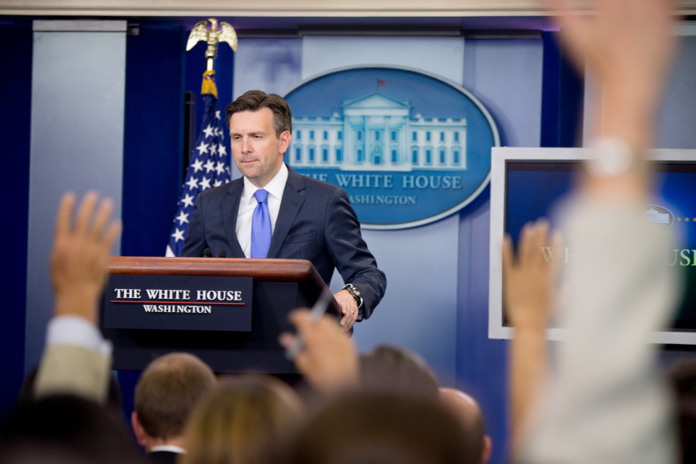 White House press secretary Josh Earnest speaks during the daily news briefing at the White House on Tuesday. He made clear the administration's preference for the Senate to block the disapproval resolution against the Iran nuclear accord before it could reach President Obama's desk. The Associated Press
