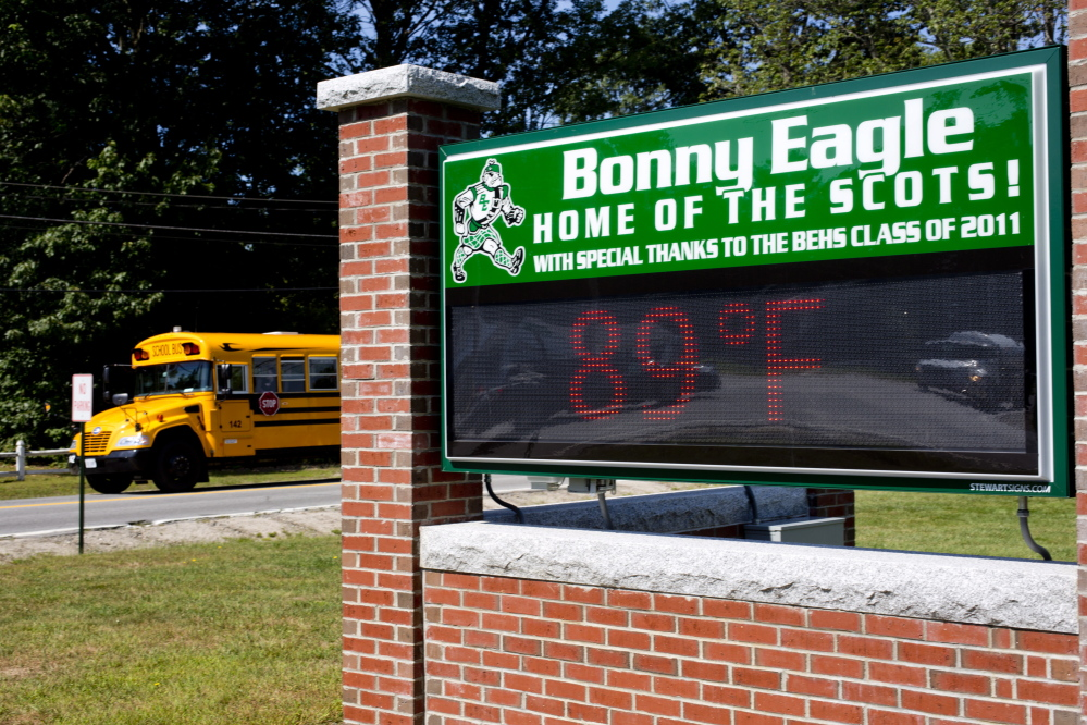 The temperature reached 89 degrees early Wednesday – then went higher – outside Bonny Eagle Middle School in Buxton. Students were let out of school early in the district because of dangerously warm classrooms.