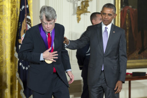 Author Stephen King of Bangor walks off stage after being presented a 2014 National Medal of Arts medal by President Barack Obama during an event in the East Room of the White House on Thursday in Washington.