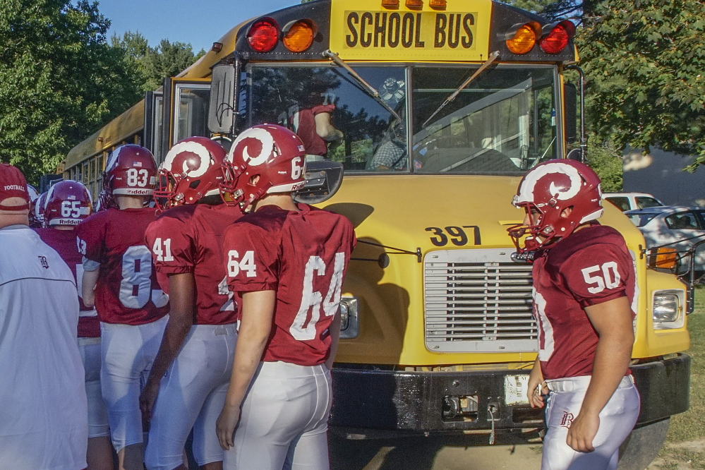 It's onto the bus for a Bangor High sports team, bound for a game that easily can be 2 or more hours away.