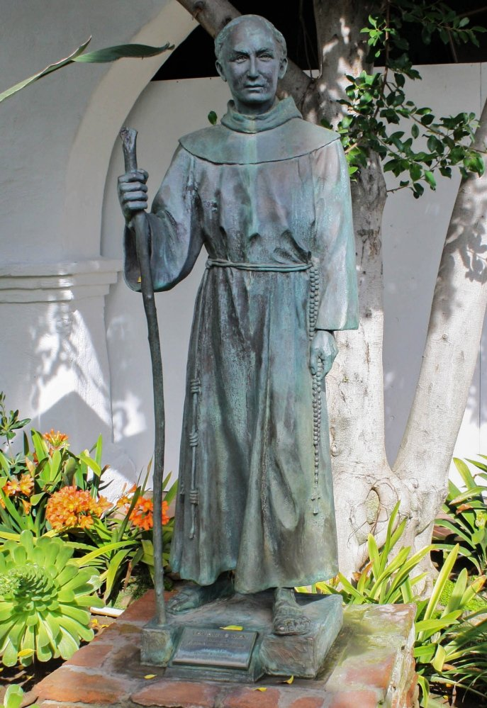 A statue of Junípero Serra stands at the Mission San Diego de Alcalá in San Diego. Pope Francis will soon confer sainthood on the 18th-century missionary.