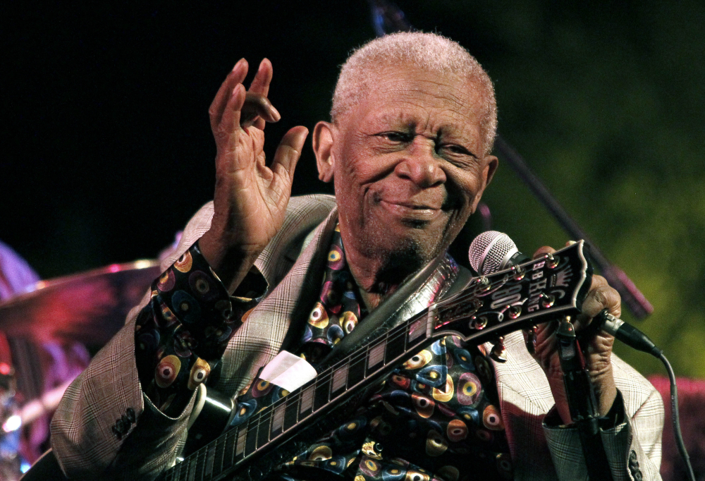 B.B. King thrills a crowd in Indianola, Miss., in 2012.
