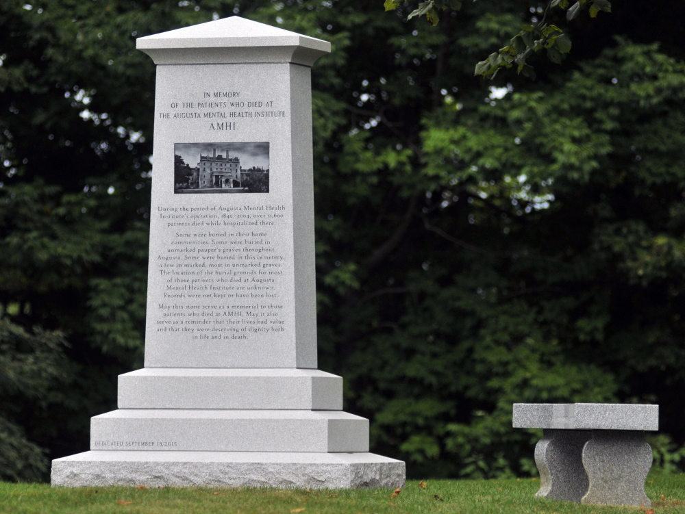The monument that honors the more than 11,000 people who died at the Augusta Mental Health Institute will be dedicated Friday in Cony Cemetery in Augusta.