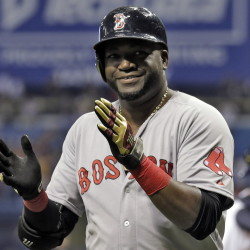 David Ortiz applauds after hitting his 500th career home run during the fifth inning on Saturday in St. Petersburg, Fla.