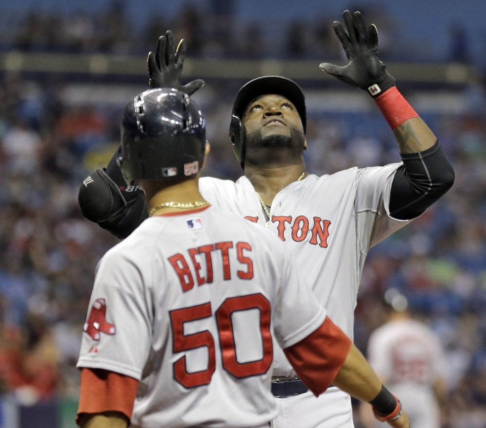 And then came No. 500. Before David Ortiz could reach his milestone, he had to hit No. 499 in the first inning Saturday night and was welcomed by Mookie Betts.
