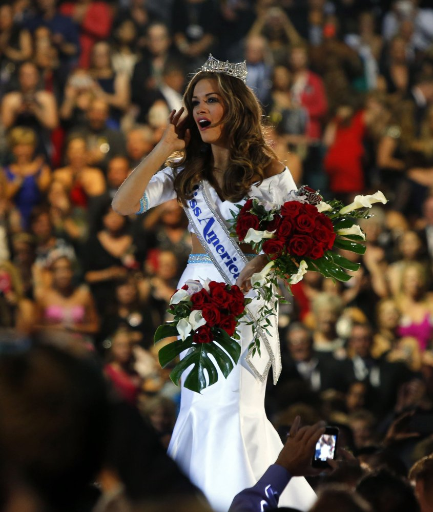 Betty Cantrell of Georgia reacts after being crowned Miss America 2016 on Sunday in Atlantic City, N.J.