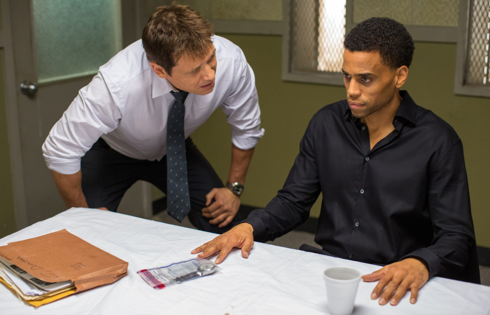 "Holt McCallany, left, as Detective Hansen, interrogates Michael Ealy as Carter in ""The Perfect Guy,"" a thriller."
