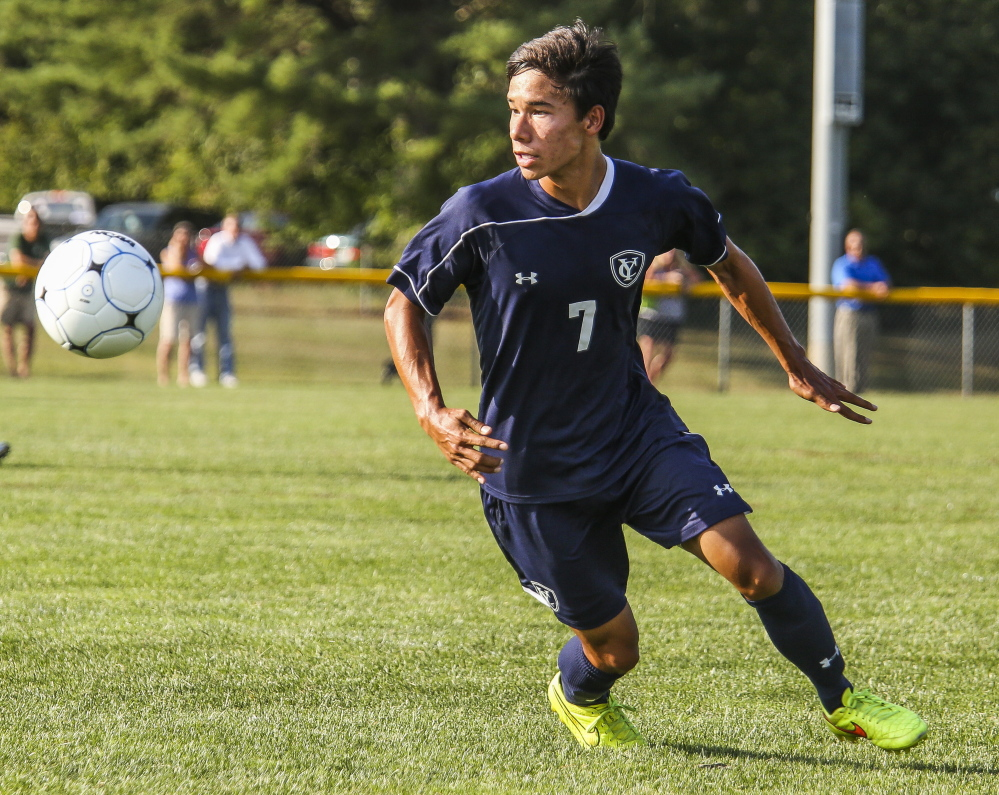Jonathan Groothoff, a senior forward, has quickly taken on a leadership role in his first season playing soccer for Yarmouth after moving with his family from California.