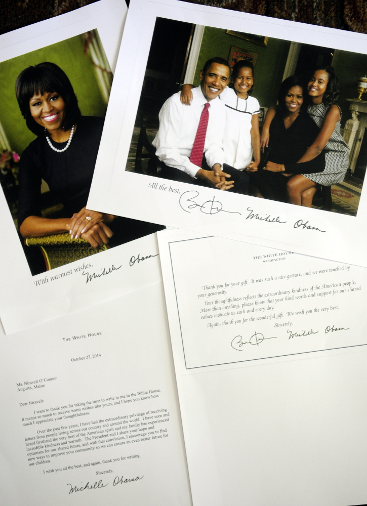 Niravelt O'Connor received these items from the Obamas.