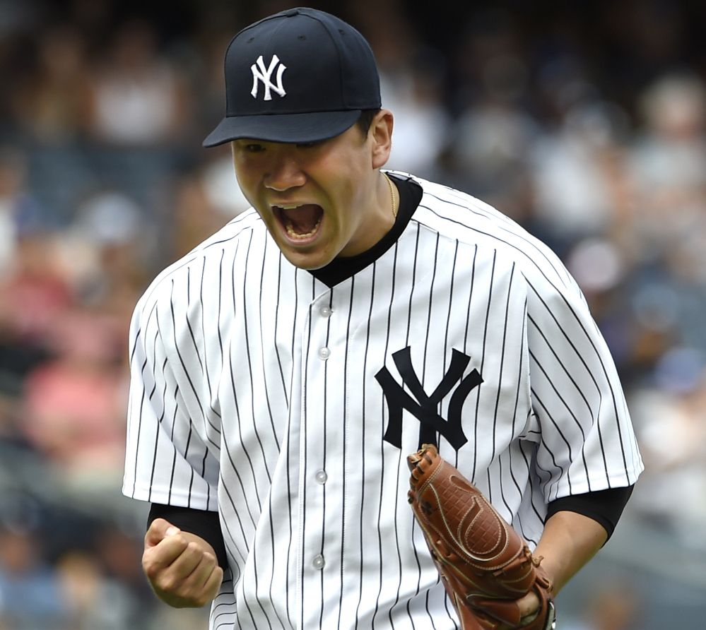 Masahiro Tanaka allowed four hits and struck out seven in seven innings to lift the Yankees to a 5-0 win over the Blue Jays on Sunday in New York.
