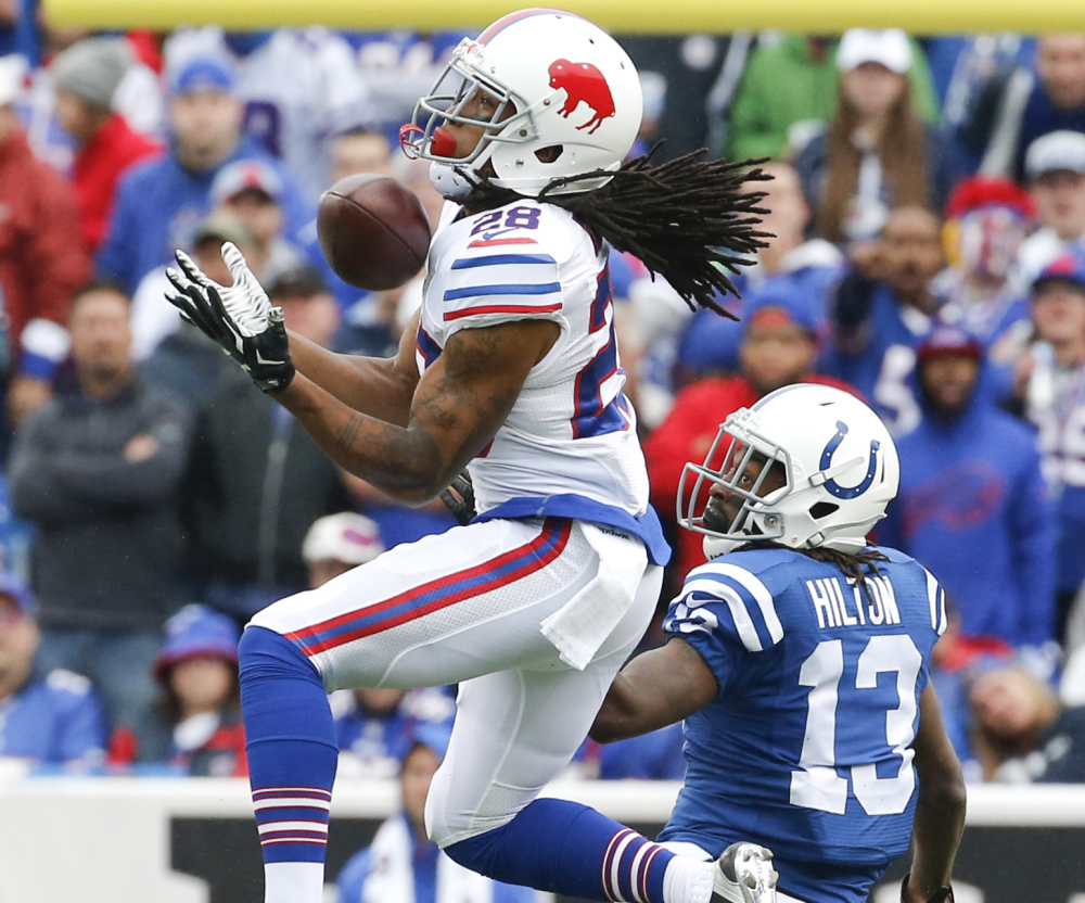 Bills cornerback Ronald Darby intercepts a pass intended for Colts wide receiver T.Y. Hilton during Buffalo's 27-14 win Sunday in Orchard Park, New York.