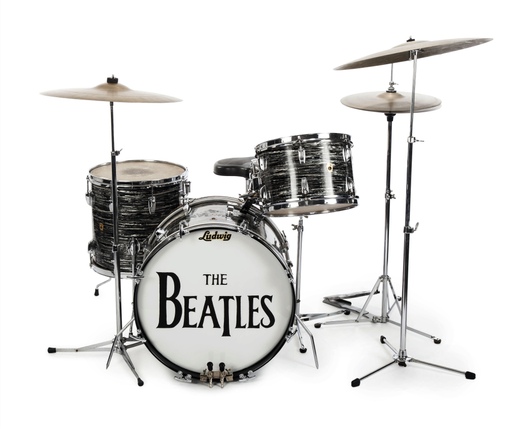 "Ringo Starr's first 1963 Ludwig Oyster black pearl three-piece drum kit was used in more than 200 performances in 1963 and 1964. The set was used to record some of The Beatles' biggest hits, including ""Can't Buy Me Love."""