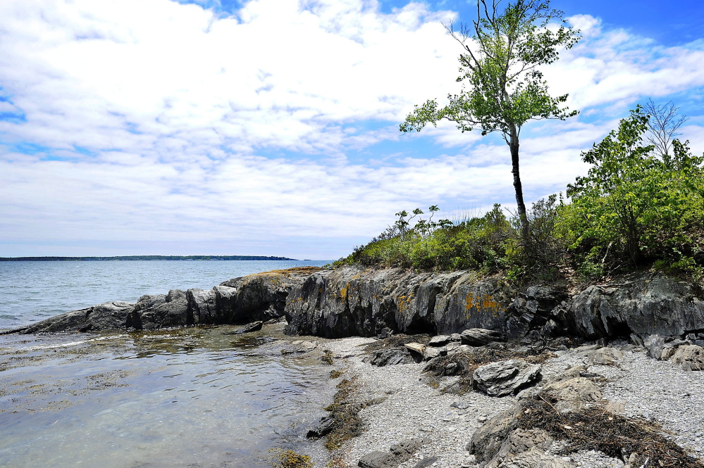 Among the conservation projects slowed by the governor's withholding of funding is a proposal to guarantee public recreational access to Clapboard Island in Falmouth, above.