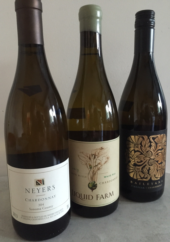 Worthy chardonnays abound, including this trio, all from 2013: Sonoma Chardonnay 304, White Hill and Baileyana Firepeak.