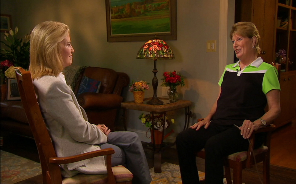 In this frame from video provided by Fox News, Smith Mountain Lake Chamber of Commerce executive director Vicki Gardner, right, who survived an on-air shooting that killed two TV journalists in Virginia, speaks with Fox News' Greta Van Susteren in an interview broadcast Tuesday.