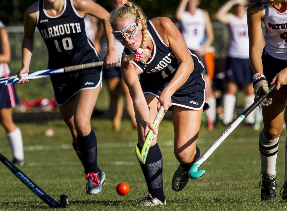 Yarmouth's Eliza Lunt drives toward the goal Wednesday in a field hockey game at Gray. Yarmouth topped Gray-New Gloucester 4-1, getting goals from four players to improve to 5-0.