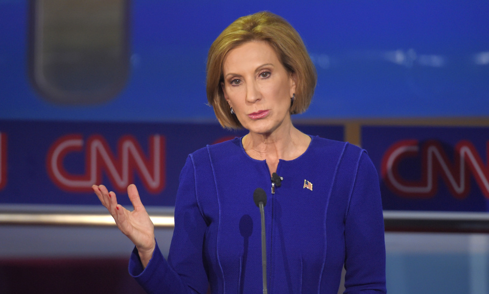 Republican presidential candidate Carly Fiorina makes a point during the CNN Republican presidential debate at the Ronald Reagan Presidential Library and Museum on Wednesday in Simi Valley, Calif.